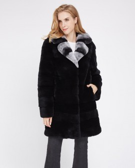 Black Rex Rabbit Fur Coat 225e
