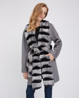 Cashmere Coat with Rex Rabbit Fur Trim 238a