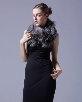Chinchilla Fur Knitted Wrap Neckwarmer with Silver Fox Fur Trim