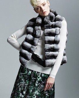 Cropped Chinchilla Fur Vest 168a
