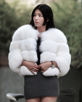 Cropped White Fox Fur Jacket