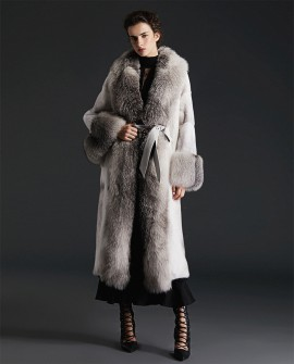 Cross Mink Fur Long Coat With Shadow Blue Frost Fox Fur Trim 0082a