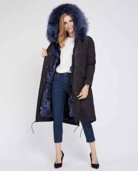 Detachable Fox Fur Lined Parka with Raccoon Fur Trimmed Hood 250d
