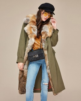 Fox Fur Collar Trench Coat with Rabbit Fur Trim