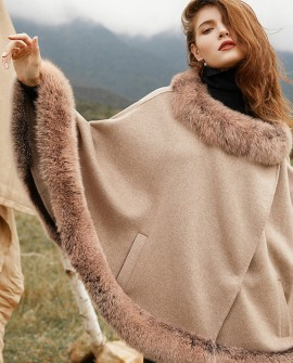 Fox Fur Trim Cashmere Cape 0106a