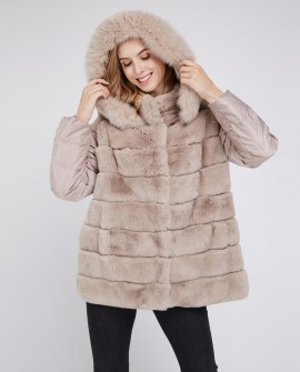 Fox Fur Trimmed Hood Rex Rabbit Fur Jacket with Detachable Down-filled Sleeves 218b