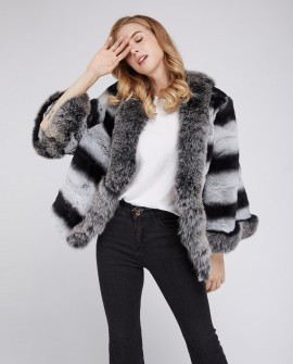 Fox Fur Trimmed Rex Rabbit Fur Jacket 210d