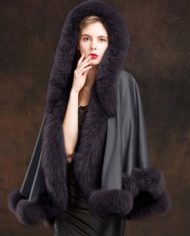 Fox Trimmed Cashmere Cape with Hood-Gray