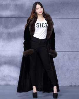 Full Length Mink Fur Coat with Sable Fur Collar