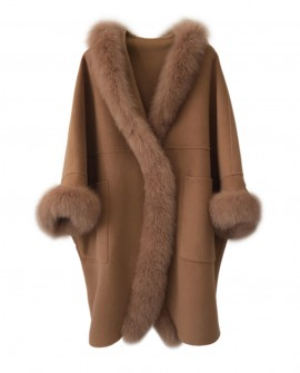Hooded Cashmere Poncho Coat with Fox Fur Trim 0055a