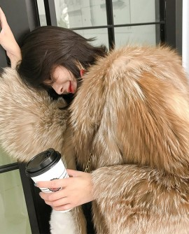 Hooded Chocolate Fox Fur Jacket