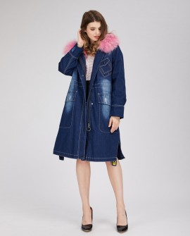Hooded Denim Parka with Fox Fur Liner and Raccoon Fur Trim