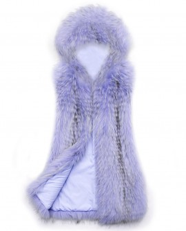 Hooded Raccoon Fur Vest 0097b