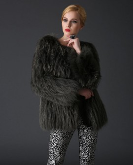 Knitted Raccoon Fur Coat 783a