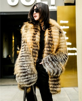 Knitted Red Fox Fur Coat in Golden
