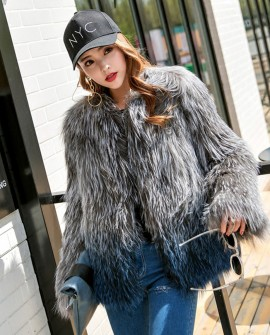 Knitted Silver Fox Fur Jacket