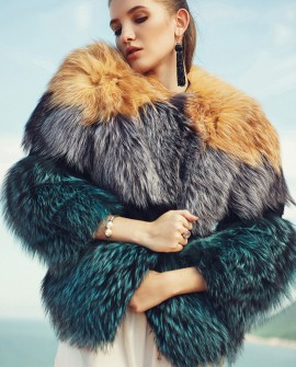 Layered Multicolor Fox Fur Jacket