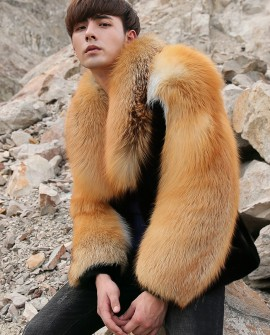 Men's Black Mink Fur Jacket with Red Fox Fur Collar and Sleeves 0011a