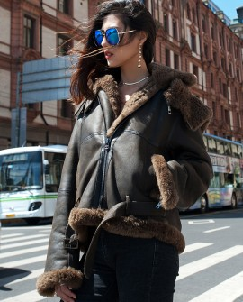 Merino Shearling Sheepskin Bomber Biker Jacket with Hood