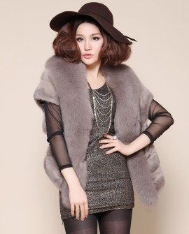 Mink Fur Cape with Fox Trimming