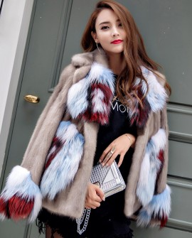 Mink Fur Jacket With Fox Fur Trim 932a