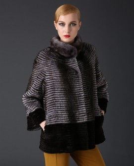 Mink Fur Jacket With Rex Rabbit Fur Trim 785a