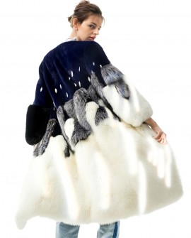 Mink Fur Long Coat with Fox Fur Bottom