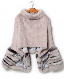 Mink Fur Pullover Poncho with Detachable Silver Fox Fur Cuff