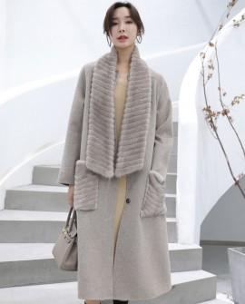 Mink Fur Trimmed Cashmere Long Coat with Removable Fur Scarf 337a