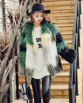 Multicolored Knitted Fox Fur Jacket