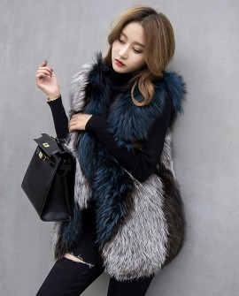 Multicolored Silver Fox Fur Vest 333a