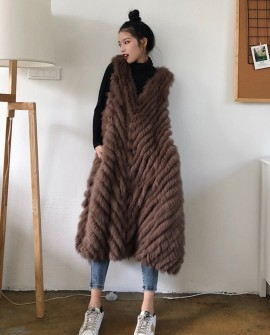 Pullover Fox Fur Striped Long Vest 0013a