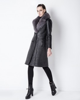 Quilted Sheep Leather Coat with Fox Fur Collar