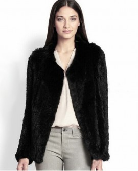 Rabbit Fur Knitted Coat 721 Black 1
