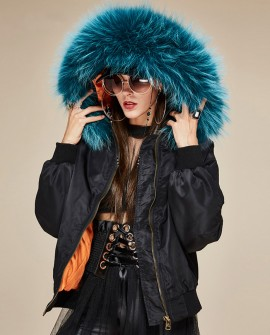 Raccoon Fur Trimmed Hooded Cotton-padded Jacket 129a