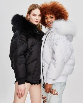 Raccoon Fur Trimmed Hooded Down-filled Cropped Winter Coat 0016a