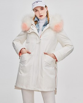 Raccoon Fur Trimmed Hooded Down-filled Winter Coat in White