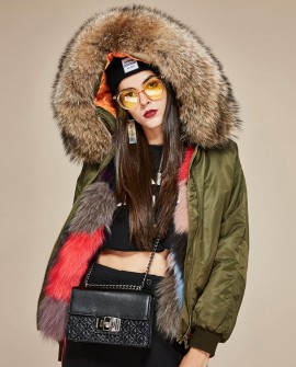 Raccoon Fur Trimmed Hooded Jacket with Detachable Fox Fur Liner 117a