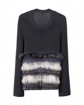 Raccoon Fur Trimmed Sweater Coat 339a