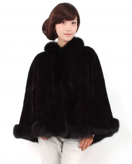 Rex Rabbit Fur Cape with Fox Fur trim