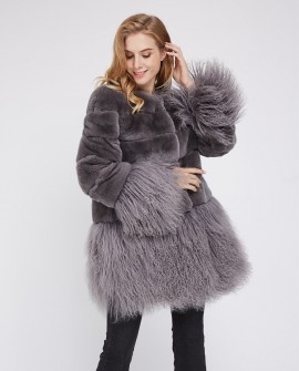 Rex Rabbit Fur Jacket with Tibet Sheep Fur Trim 222a
