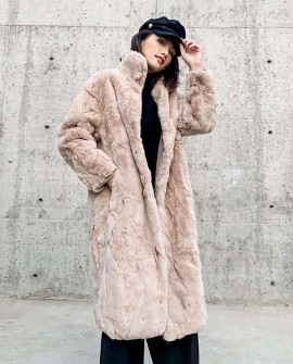 Rex Rabbit Fur Long Coat Khaki 0036c