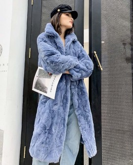 Rex Rabbit Fur Long Coat Light-Blue 0036fa