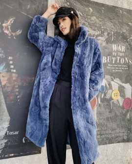 Rex Rabbit Fur Long Coat Navy Blue 0036aa