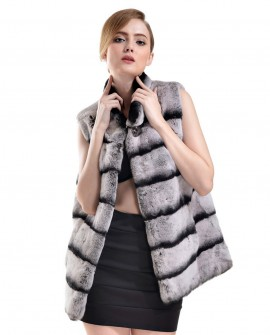 Rex Rabbit Fur Vest with Chinchilla Look 732a