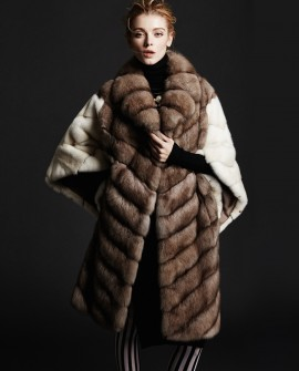 Sable Fur Coat with Mink Fur Sleeves and Back