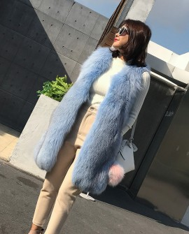 Shadow Blue Frost Fox Fur Vest