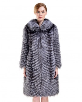 3/4 Length Silver Fox Fur Coat