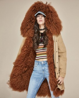 Tibet Sheep Fur Hooded Parka