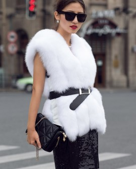 White fox fur vest coat